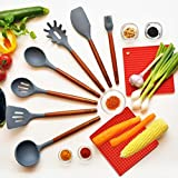 Silicone cooking utensils SADARBA-wooden handle kitchen utensil set-spoons spatula turner spaghetti ladle brush gadgets-heat resistant non stick non scratch cookware-pot holders dish pads trivet mat