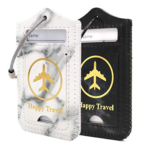 kandouren Marble Leather Luggage Bag Tags 2 Pieces Set,travel tags for cruise ships,for men and ()