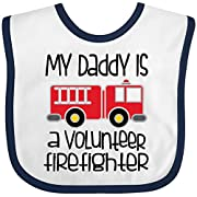 Inktastic - Volunteer Firefighter Daddy Baby Bib White/Navy