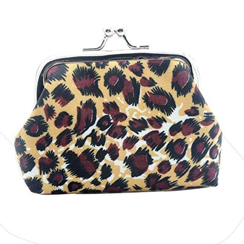 Women Girls Retro Leopard Small Mini Change Wallet Hasp Clutch Coin Purse Bag (Color - #3 Leopard)]()
