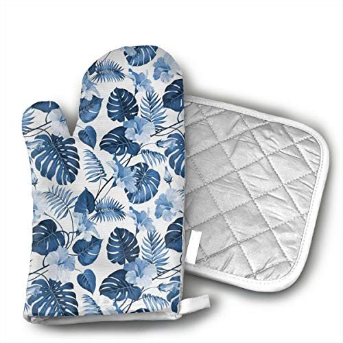 BenteLi Palm and Mango Tree Branch and Hawaiian Hibiscus Flower Oven Mitts,Professional Heat Resistant Microwave Oven Insulation Thickening Gloves Soft Inner Lining Kitchen Cooking Mittens