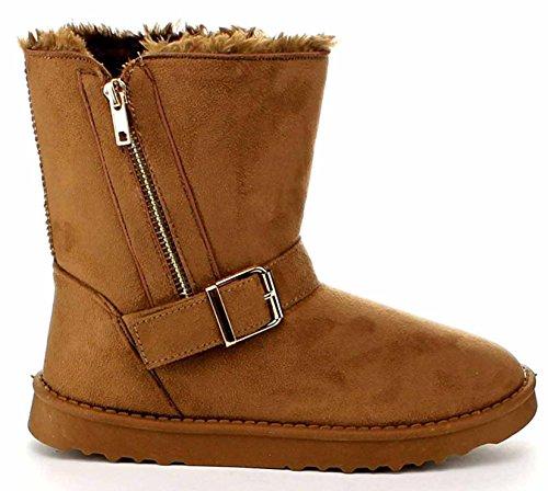 1 Comfort Women's Vegan Booties Furry Shoes Winter Zipper Suede camel w4g1PqH