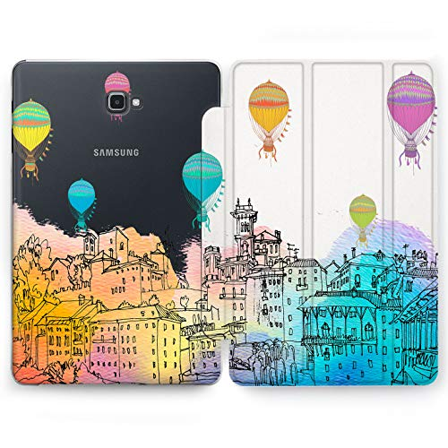 Wonder Wild Balloon Over City Samsung Galaxy Tab S4 S2 S3 A E Smart Stand Case 2015 2016 2017 2018 Tablet Cover 8 9.6 9.7 10 10.1 10.5 Inch Clear Design Traveling Adventure Expedition Air Flying Trip -