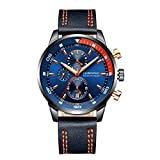 Globenfeld Daytimer Mens Chronograph Quartz Wrist Watch | Blue Multifunctional Analog Display | Timer/Stopwatch & Tachymeter | Military Inspired Design | Genuine Leather Strap | 5 Year Warranty