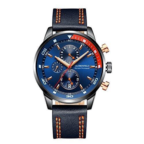 Globenfeld Daytimer Mens Chronograph Quartz Wrist Watch | Blue Multifunctional Analog Display | Timer/Stopwatch & Tachymeter | Military Inspired Design | Genuine Leather Strap | 5 Year Warranty (Gents Watch Tachymeter Chronograph)