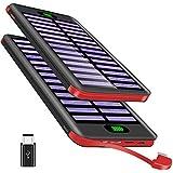 Power Bank16000mah Caricabatterie Portatile VNOOKY Batteria Esterna Portatile con Cavo Micro Integrato con 3 Porte di Entrata per tutto smartphone-Rosso