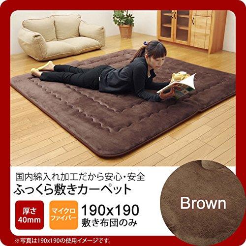 ブラウン(brown) 190×190 国産固綿40mm使用 マイクロファイバー生地 ふっくら敷 日本製   B077SBQ5FP