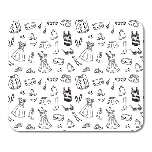 Boszina Mouse Pads Girl Dress Women and Accessories Hand Drawn Doodle Sketch Line Mouse Pad for notebooks,Desktop Computers mats 9.5