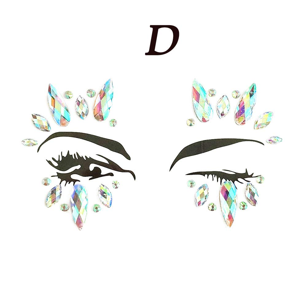 Exteren Face Gems Adhesive Glitter Jewel Tattoo Wedding Festival Rave Party Body Make Up Tattoo Kit Tattoo Accessories Tattoo for Women Men (D)