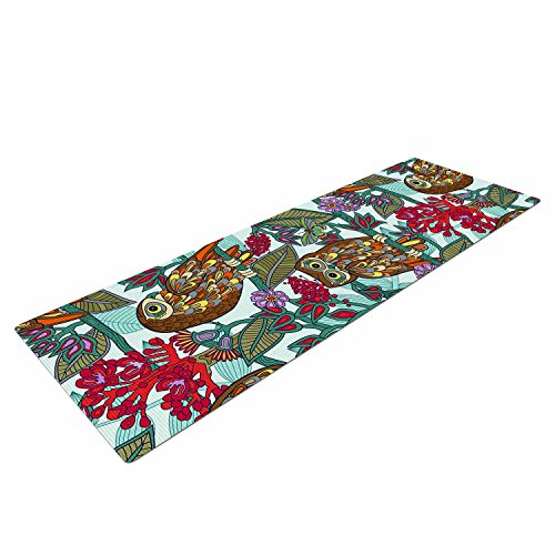 Kess InHouse Julia Grifol My Bookbooks Owls On Blue Brown Yoga Exercise Mat, 72 x 24