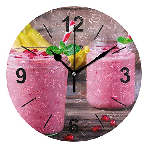 (Double Joy Wall Clock Round Drink Fruit Pomegranate Smoothie 10 Inch Diameter Silent Decorative for Home Office Kitchen Bedroom)
