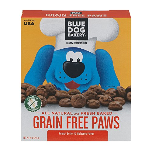 Blue Dog Bakery Healthy Treats For Dogs Grain Free Paws Peanut Butter & Molasses, 16.0 OZ