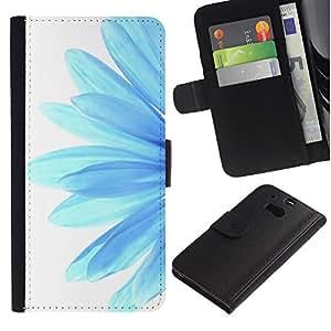 HTC One M8 Modelo colorido cuero carpeta tirón caso cubierta piel Holster Funda protección - Blue Flower Daisy Petal White Minimalist