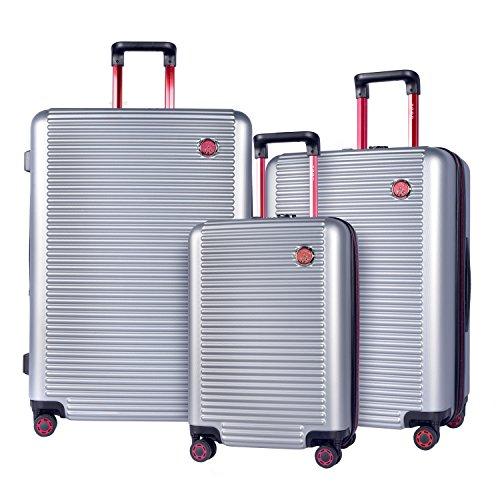 TPRC 3 Piece Multi-Tone Eye-Catching Design Hardside Luggage Set with TSA Lock,...