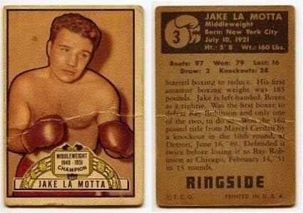 1951Ringsideジェイク・ラモッタボクシングカード# 3