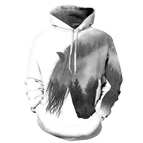 youvimi Unisex 3D Printed Drawstring Pockets Pullover Hoodie Hooded Sweatshirt (horsetree, Small/Medium)
