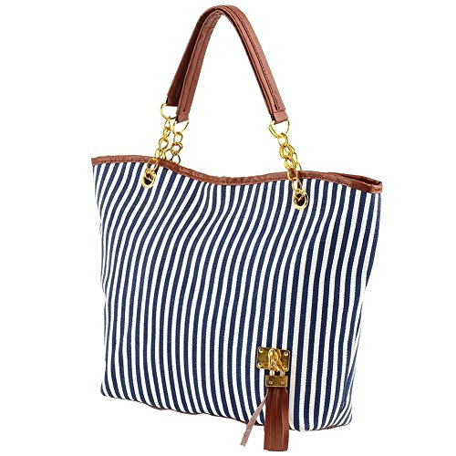 Vin beauty Women Stripe Zipper Hobo Tote Shoulder Purse Satchel Fashion Handbag Bag