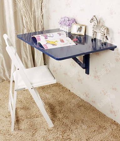 SoBuy Mesa de cocina, mesa de madera, mesa plegable de pared, mesa de comedor, escritorio, mesa, plegable 2x, 80x60cm FWT02 (azul)