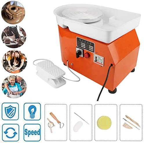 DIYの電気陶器のホイールマシン足のペダル、取り外し可能な洗える流域と粘土ツールの8個でマシンを形成する陶器のホイール,オレンジ色,250W