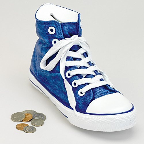 (Bits and Pieces - Classic Blue Sneaker Coin Bank - Polyresin Shoe Piggy Bank Makes Great Home Décor)