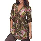 Leedford Plus Size T Shirt, Fashion Women Vintage Floral Print Long Sleeve V-Neck Blouse Outfit (XL, Coffee)