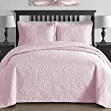 King & Queen Contemporary EXTRA Lightweight Thermal Pressed Bright Leafage Patterned 3 Piece Coverlet Set (Full/Queen, Pink)