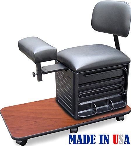 2318-CHR Salon Spa Pedicure Station Stool with Footrest & Back Support by Dina Meri by Dina Meri