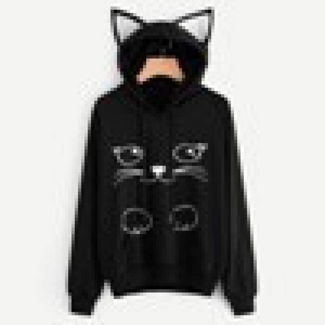 Lmtime Women top Womens Cat Pattern Long Sleeve Drawstring Hoodie Sweatshirt Hooded Pullover Tops Blouse