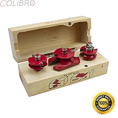 """COLIBROX--3 pc 1/2"""" Shank Ogee Cutter Router Bit Set Wood Cabinet Pro Power Tool Bits Kit. Brand new in box 3pc router bit Industrial grade 3 pieces raised panel door."""