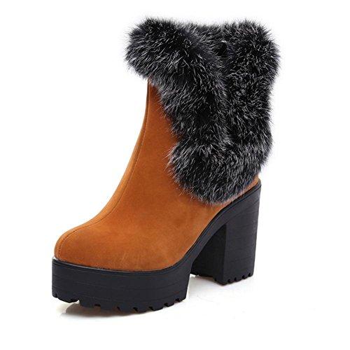 XIAOGANG H HCuatro temporadas mujeres (amarillas.) Negro. (rojo) botas de nieve heladas caucho grueso y resistente al desgaste antideslizante, yellow, 39
