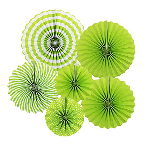 Zilue Hanging Green Paper Fans Decoration Set for Wedding Birthday Party St Patrick's Day Round Events Accessories Set of ()