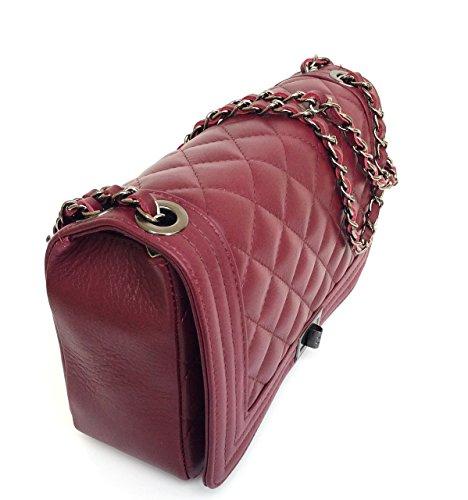 pelle in modello Donna in trapuntata Italy Made Borsa Superflybags Bordeaux Loira vera AIzY4xKqw