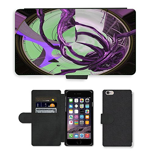 "Just Phone Cases PU Leather Flip Custodia Protettiva Case Cover per // M00129143 Insecte Araignée Pont Art Moderne // Apple iPhone 6 PLUS 5.5"""