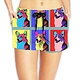 JIW Iaa Corgi Art Womens Novelty Elastic Waist Shorts Breathable Lightweight Beach Shorts