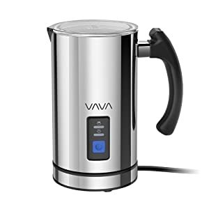 Milk Frother, VAVA Electric Liquid Heater with Hot or Cold Milk Functionality, Stainless steel Electric Milk Steamer(Silent Operation, Strix Temperature Controls, Extra Whisks, FDA Approved)