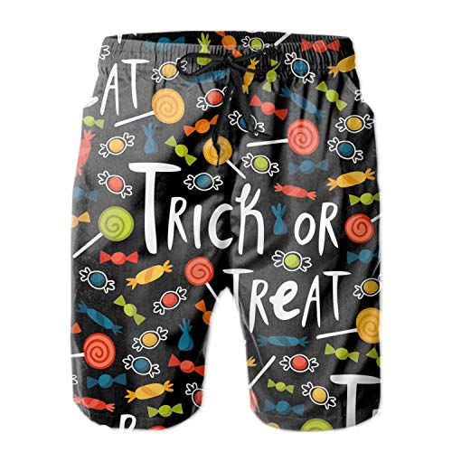 AyxjlSv Men's Beach Swimming Trunks Halloween Trick Or Treat Swimsuit Swim Underwear Boardshorts with Pocket ()