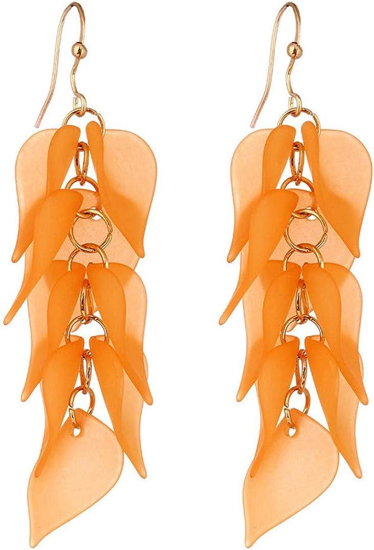 Underleaf Boucles doreilles multicolores avec franges et gouttes de couleur pour les femmes