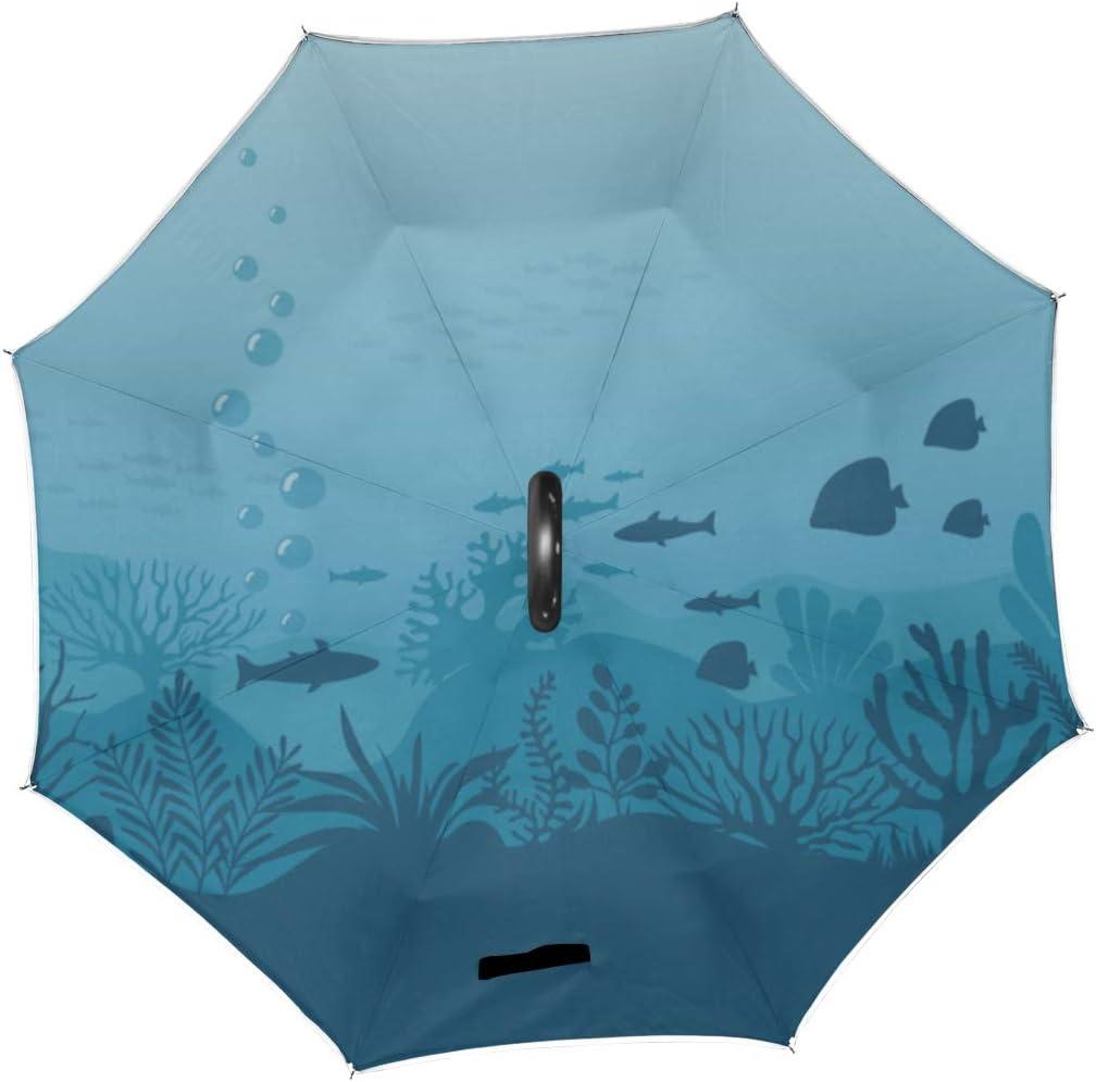 Double Layer Inverted Inverted Umbrella Is Light And Sturdy Sea Underwater Ocean Bottom Seaweeds Reverse Umbrella And Windproof Umbrella Edge Night R
