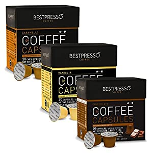 Nespresso Compatible Gourmet Coffee Capsules-60 Pod Variety Pack Caramel,Vanilla&Chocolate-For Original Line Nespresso Machine-Certified Genuine Espresso By Bestpresso - 60 Days Guarantee