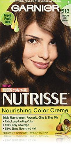 Garnier Nutrisse Nourishing Hair Color Creme, 513 Medium Nude Brown (Packaging May - Brown Nude