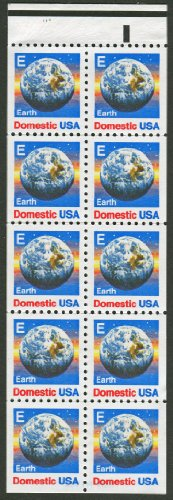 EARTH FROM SPACE & 'E' #2282 Booklet Pane of 10 x 25¢ US Postage Stamps