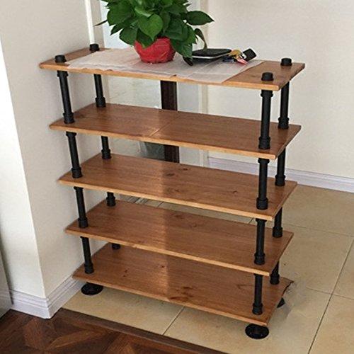 Cheap  Wendy JINGQI Industrial Pipe Shelf 5 Layer Pipe Design Rustic Modern Wood..