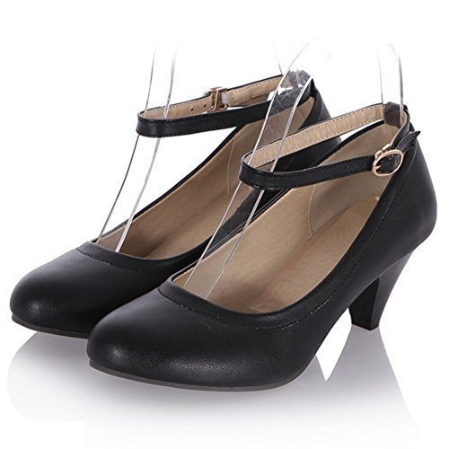 TAOFFEN Block Straps Pumps Shoes Black Fashion Women Buckle Heel rYnOr7Xq