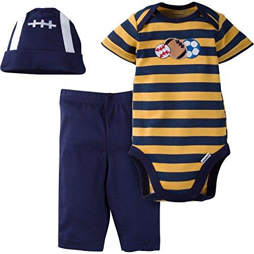 Gerber Baby-Boys Newborn 3 Piece Bodysuit Cap and Pant Set, Sports, Newborn