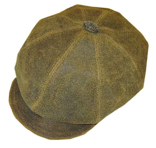 New York Hat and Cap Antique Leather Spitfire Apple Cap, Large