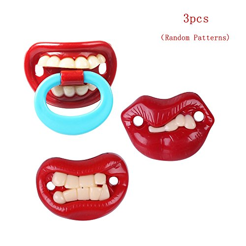 3pcs Baby Funny Pacifier For Newborn Infant,Soft Silicone BPA Free Preemie Soothie Thumb Sucker Pacifier,Hawaii Medical Gumdrop Pacifier Big Front Teeth Shield Cool Lip Premature Baby Gag Pacifier