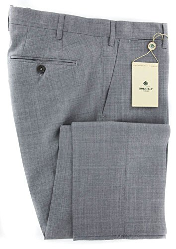 New Luigi Borrelli Light Gray Solid Pants - Extra Slim - 38/54 - New Wool Pants