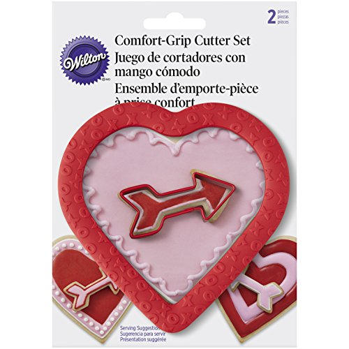 Wilton 2 Piece Cushioned Grip Heart with Arrow Cookie Cutter Set, - Cutter Grip