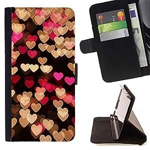 """Bright-Giant (Corazón del melocotón rosado Negro Luces Noche"""") Modelo Colorido Cuero Carpeta Tirón Caso Cubierta Piel Holster Funda Protección Para LG Nexus 5 D820 D821"""