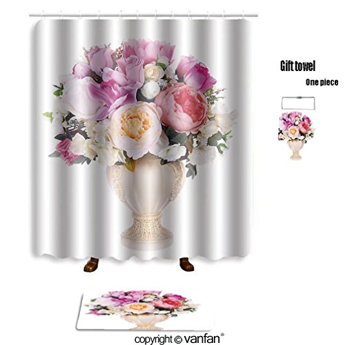 vanfan bath sets with Polyester rugs and shower curtain floral arrangement 272481023 shower curtains sets bathroom 72 x 108 inches&31.5 x 19.7 inches(Free 1 towel and 12 hooks)
